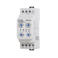 THREE-PHASE VOLTAGE CONTROLLER  WITH ADJUSTABLE LIMITS, RESTART DELAY AND TRIP TIME